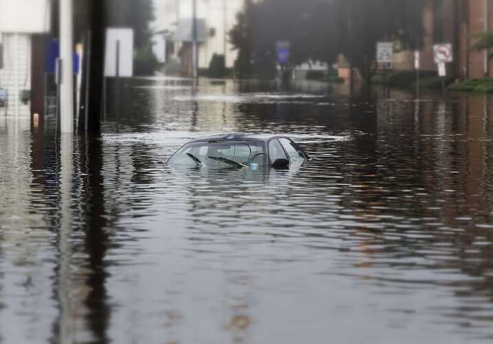 Car under water from flood