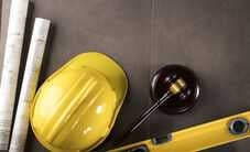 Gavel and Construction Helmet
