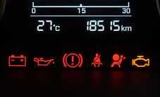 Car dashboard with errors