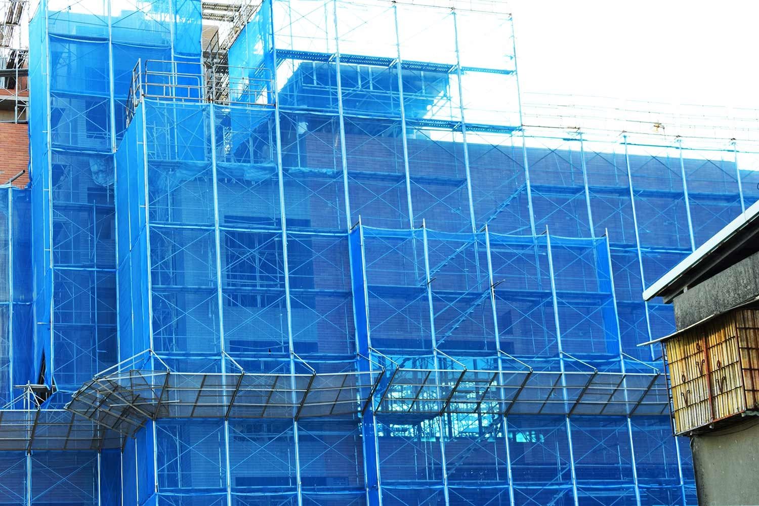 Scaffolding around building